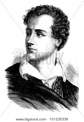 Lord Byron, vintage engraved illustration. History of France - 1885.