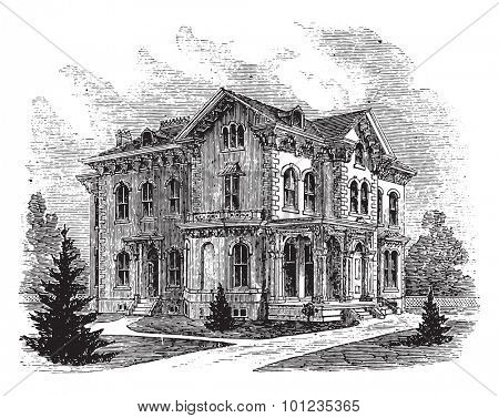 Suburban residence in the Italian style, vintage engraved illustration.