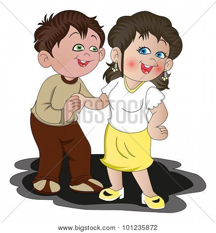 Vector illustration of young romantic couple.
