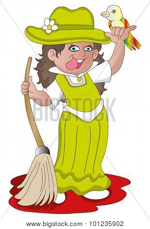 Vector illustration of happy girl holding a broom and bird.