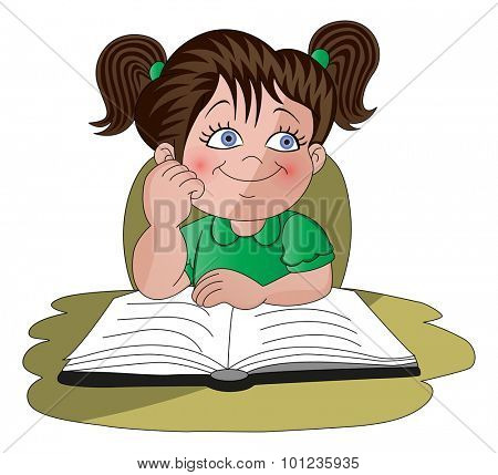 Vector illustration of schoolgirl dreaming with open book on desk.