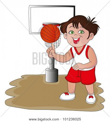 Vector illustration of confident basketball player spinning the ball.