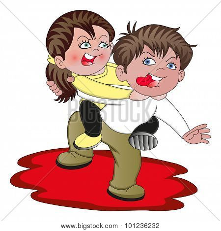 Vector illustration of aggressive couple having an heated argument,
