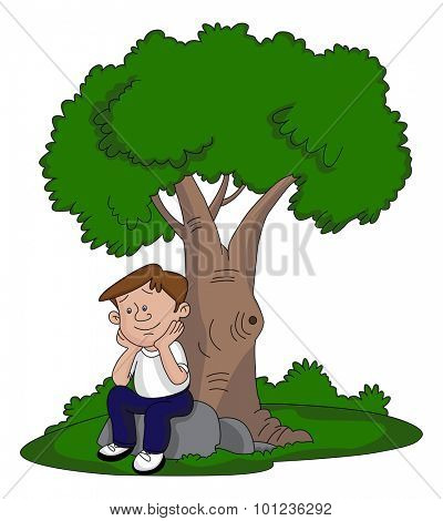 Vector illustration of thoughtful young man sitting under a tree.