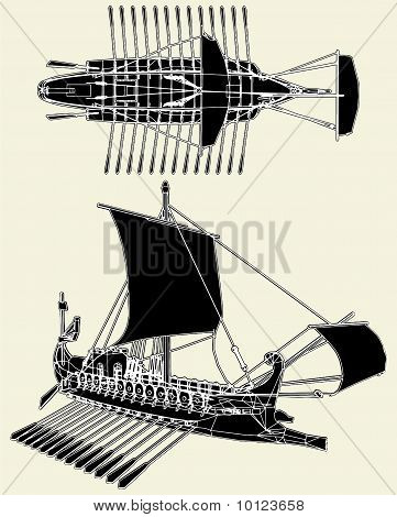 The Ancient Roman Ship Vector