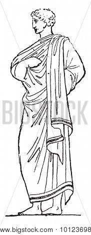 Outer garment, vintage engraved illustration.