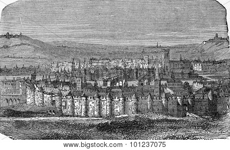 Walls of Paris under Philip Augustus, vintage engraved illustration. Industrial encyclopedia E.-O. Lami - 1875.