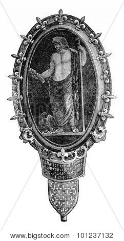 Antique cameo, setting the era of Charles V, vintage engraved illustration. Industrial encyclopedia E.-O. Lami - 1875.
