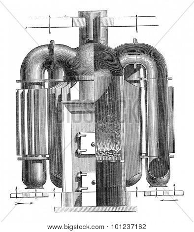 Hollow Furnace fins, vintage engraved illustration. Industrial encyclopedia E.-O. Lami - 1875.