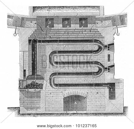 Longitudinal section of the horizontal circulation furnace, vintage engraved illustration. Industrial encyclopedia E.-O. Lami - 1875.