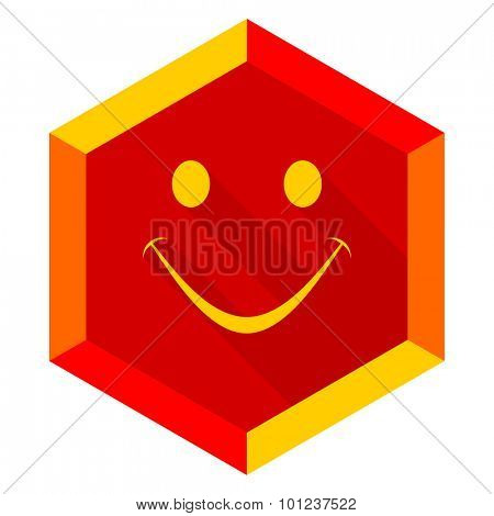 smile flat design modern icon with long shadow for web and mobile app