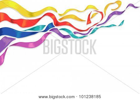 Background Illustration of Colorful Strips of Ribbon