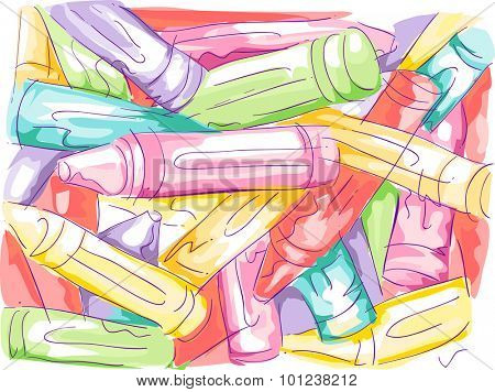 Sketchy Illustration of a Disorganized Pile of Crayons