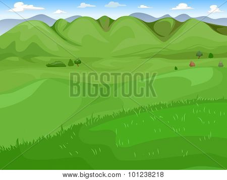Illustration of a Wide Expanse of Green Grassland
