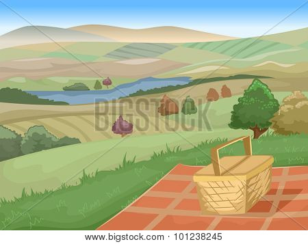 Illustration of a Picnic Site with a Stunning View of Farmlands