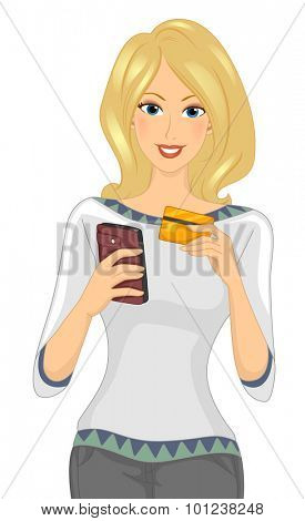 Illustration of a Girl Using Her Mobile Phone to Make a Credit Card Transaction