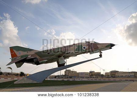 Fighter F-4 Phantom On A Pedestal In Be'er Sheva, Israel