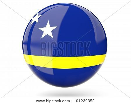 Round Icon With Flag Of Curacao