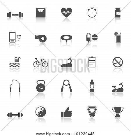Fitness Icons With Reflect On White Background