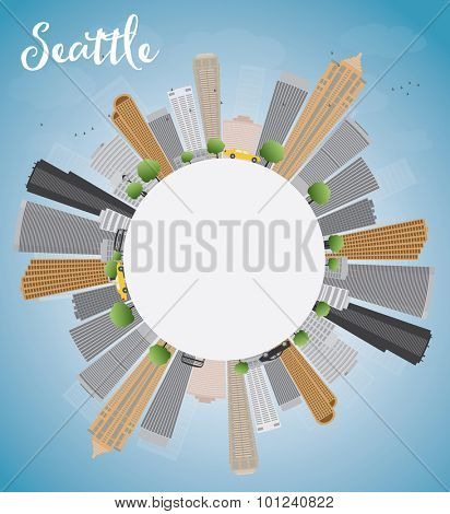 Seattle City Skyline with Grey Buildings, Blue Sky and copy space. Vector Illustration