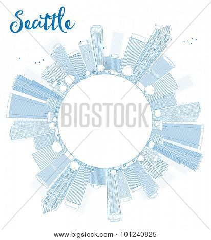 Outline Seattle City Skyline with Blue Buildings and copy space. Vector Illustration