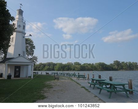 Kimberly Point Lighthouse in Neenah, Wisconsin with Lake Winnebago