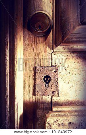 Halloween Wood Door Spooky Skull Vintage