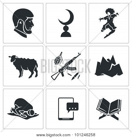 Islam in Chechnya Vector Icons Set. Chechnya Vector Isolated Flat Icons collection on a white background