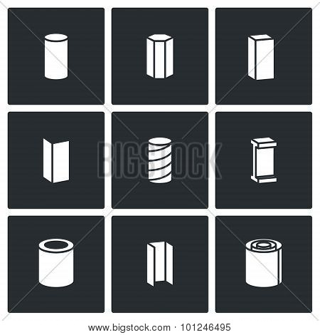 Metallurgical Products Vector Icons Set
