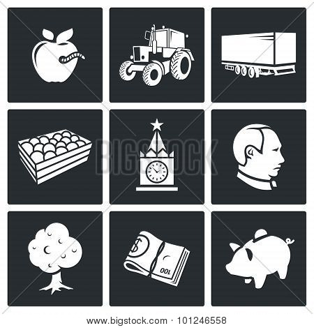 Export Of Polish Apples Vector Icons Set