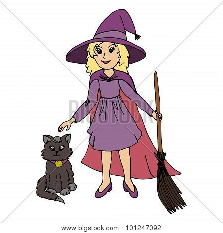 Little Girl Wearing Witch Halloween Costume And Black Cat