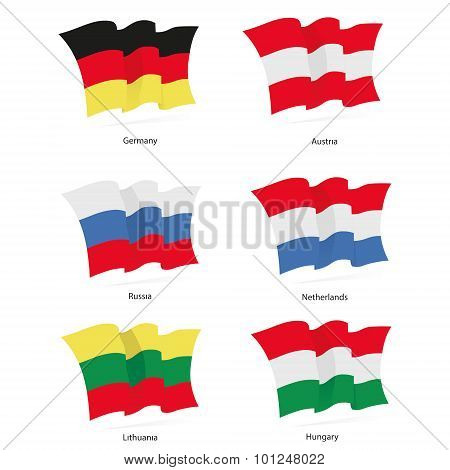 Flags Germany, Austria, Russia, Netherlands, Lithuania, Hungary waving in the wind in vector
