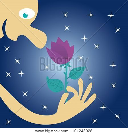 A man hold a flower in his hand and inhales its fragrance at night under the stars