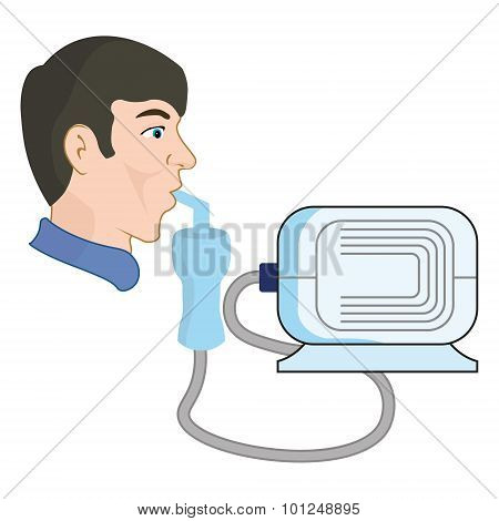 A man uses a nebulizer, from asthma and respiratory diseases