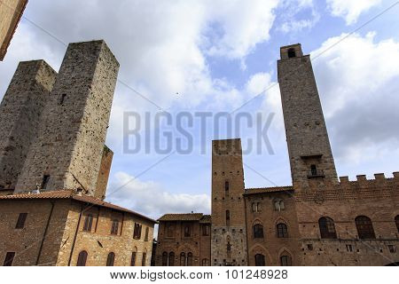 Towers In The Tuscan Town Of San Gimignano.