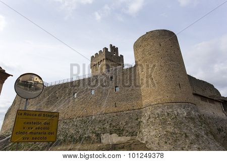 A Famous Castle In Tuscan, Along The Medieval Road