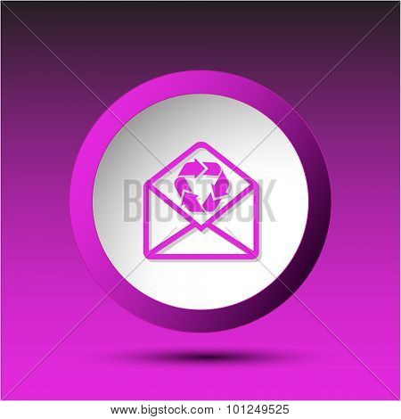 open mail with recycle symbol. Plastic button. Vector illustration.