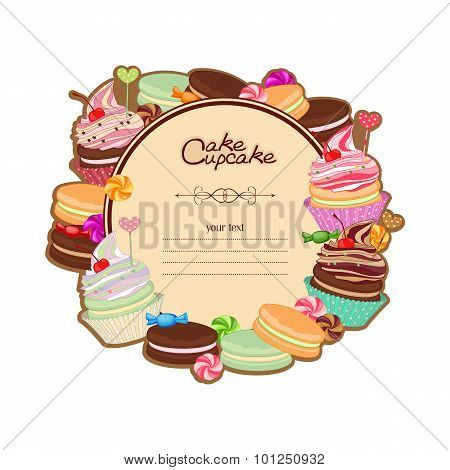 Patisserie background frame with the sketch of sweets, desserts,