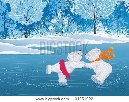 Pair of white little bears skating