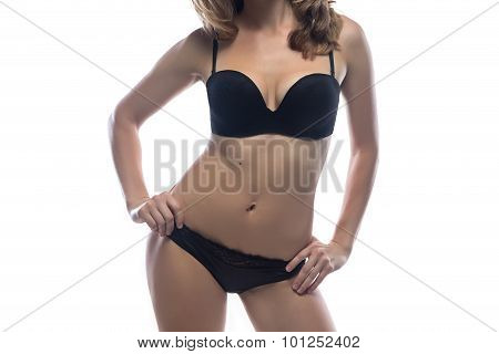 Woman leaned at side in lingerie