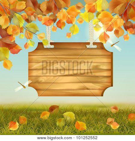 Vector Autumn Landscape Wooden Board
