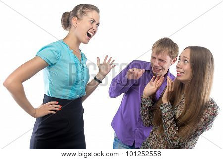 Screaming businesswoman and employees