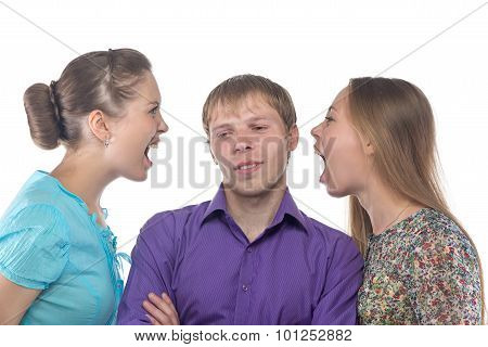 Young man and two women