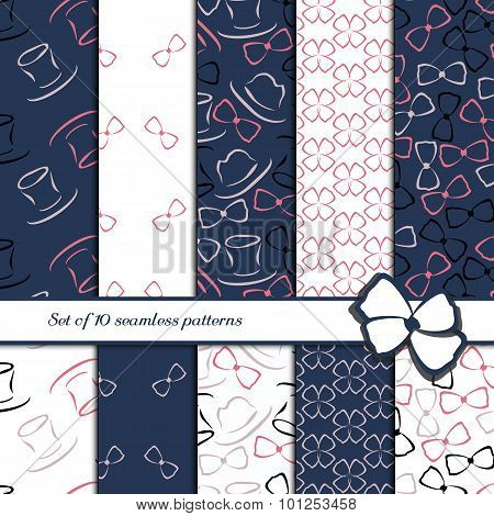 Set of 10 seamless patterns. Simple flowers cylinder hat and bow-tie