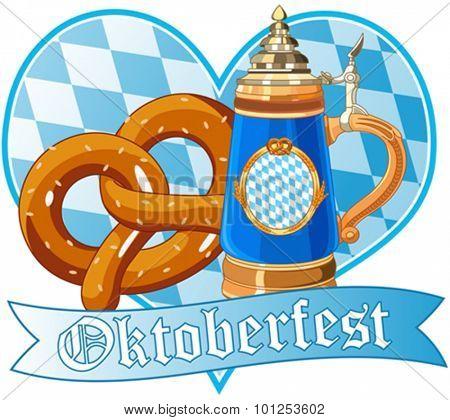 Decorative Oktoberfest design with pretzel and mug