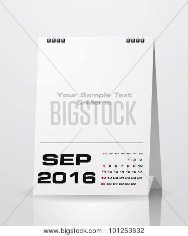 September 2016 Calendar.