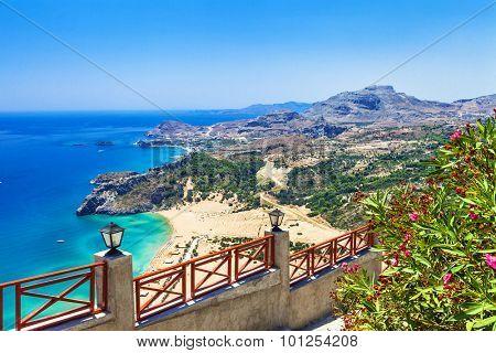 beautiful beaches of Greece, Rhodes island, Tsambika