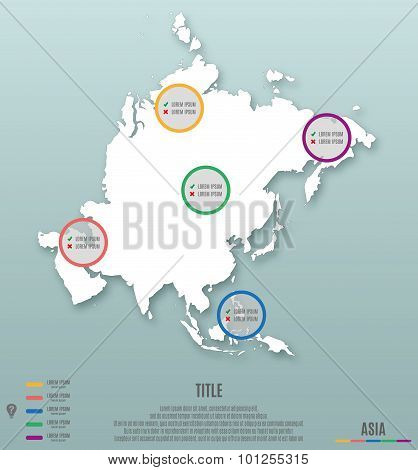 Asia Continent Template For Infographics