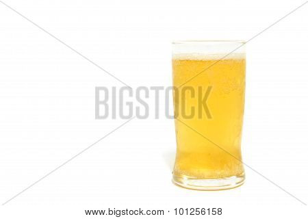 Glass Of Lager Beer On White Background