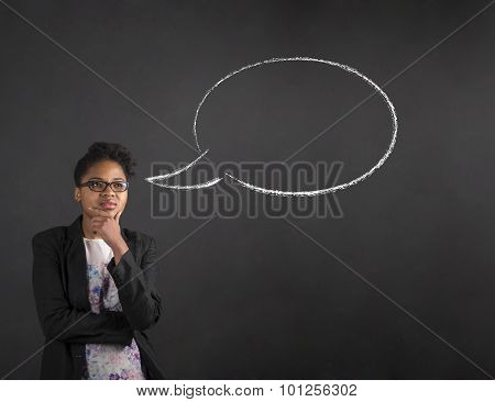 African Woman With Hand On Chin Thinking Thought Bubble On Blackboard Background